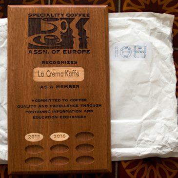 SCAE Plaque for La Crema Kaffe!